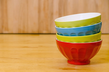 stacked colorful bowls