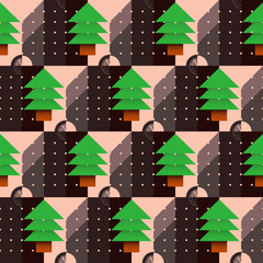 Christmas tree pattern with a dial in the geometric style