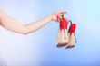 canvas print picture - female shoes high heels in woman hand. Shopping.