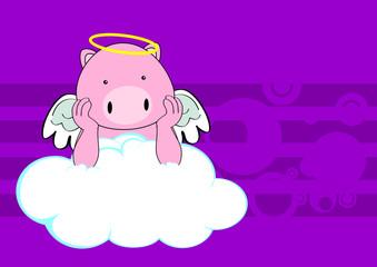 pig baby cute angel cartoon background