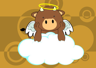 bull baby cute angel cartoon background