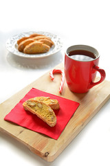 Gluten free almond biscotti with tea