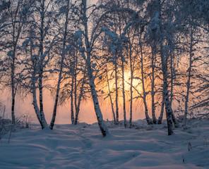 Sunset at the river Angara in Irkutsk.