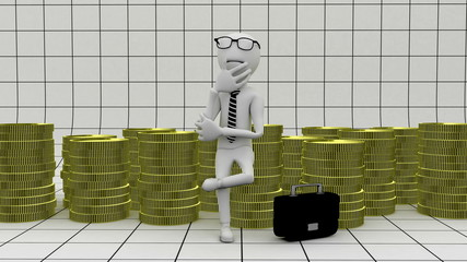 thinking businessman with money - business concept