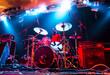 Leinwandbild Motiv Music Instruments, Amplifier, Drums/Guitar on empty stage