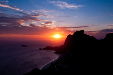 Mountain Silhouette with Red Sunset in Rio de Janeiro