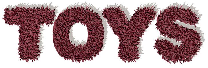 TOYS Giochi parola rosso tappeto 3d, sfondo bianco