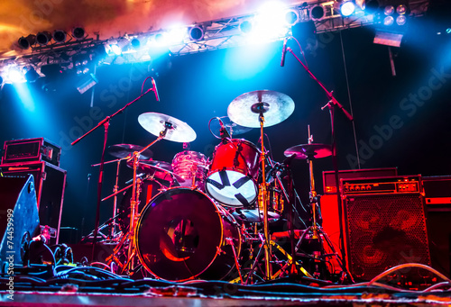 Music Instruments, Amplifier, Drums/Guitar on empty stage - 74459999