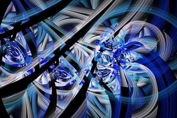 Symmetrical colorful fractal flower spiral, digital abstract