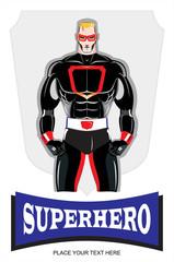 Superhero. Blonde masked Superhero in black costume