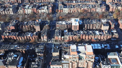 Aerial of a neighborhood in the city of Boston, Massachusetts