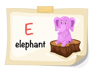 animal alphabet letter E for elephant illustration vector