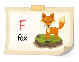 animal alphabet letter F for fox illustration vector