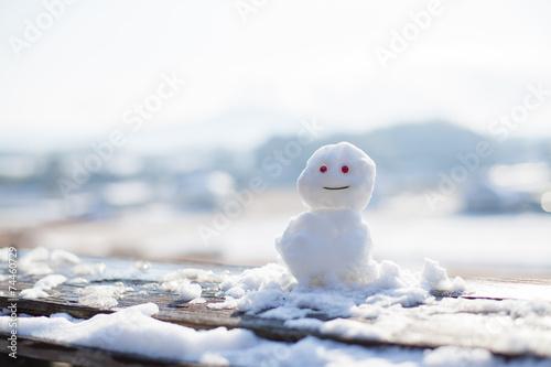 Leinwandbild Motiv ちいさな雪だるま