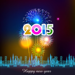 Happy New Year 2015 with fireworks background