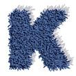 K lettera tappeto blu 3d, isolata su sfondo bianco