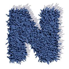 N lettera tappeto blu 3d, isolata su sfondo bianco