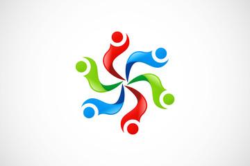 circle people abstract diversity color ribbon logo vector