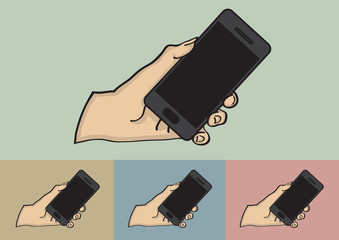 Close up of Hand Holding Black Mobile Phone Vector Illustration