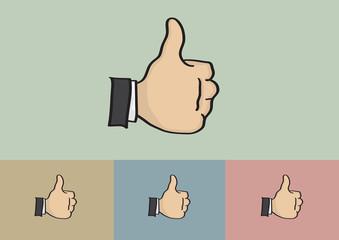Thumb Up Hand Gesture Cartoon Vector