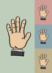 Five Fingers and Palm Hi Five Hand Gesture Vector Illustration