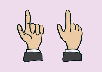 Thumb and Index Finger Hand Gesture in Front and Back View