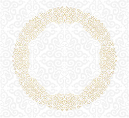 Golden ornament. White background.
