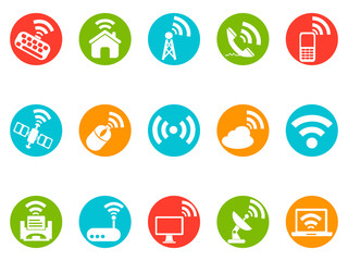 wireless commuincation button icons set
