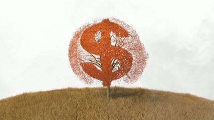 dollar symbol on a tree