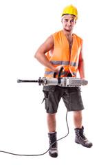 Road Worker holding a Jackhammer