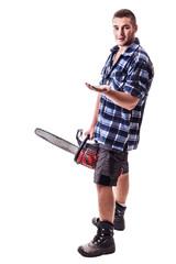 Lumberjack endorsing something