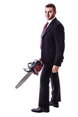Chain saw businessman