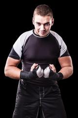 Fighter over black