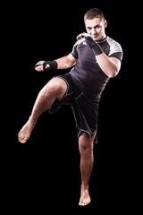 Kickboxer on black