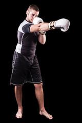 Punching boxer on black