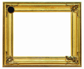 golden frame on white background with clipping path.