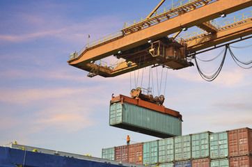 Container Cargo freight ship with working crane load