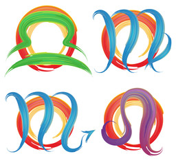 the set of signs  zodiac watercolor brushes, vector illustration
