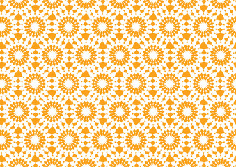 Abstract Kaleidoscopic Seamless Pattern in Orange for Wallpaper
