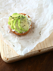 Delicious toast with avocado
