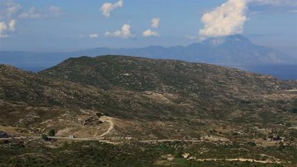 Panorama Aegean coast. View of Mount Athos.