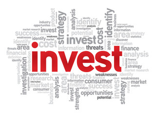 Invest business concept in word tag cloud, vector background