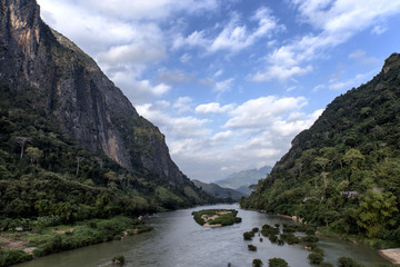 Ou River in Nong Khiaw, Laos