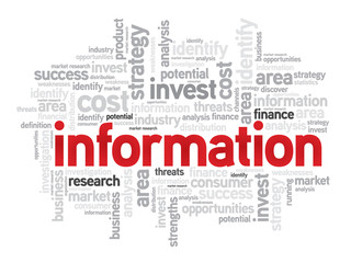 Information business concept in word tag cloud, vector