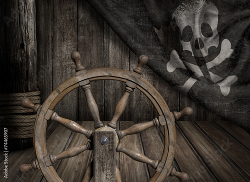 Pirates ship steering wheel with old jolly roger flag - 74465907