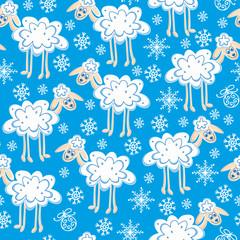 seamless pattern cute christmas sheep
