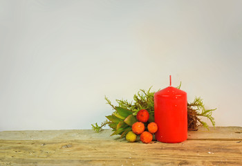 xmas red candle arbutus moss flame for background