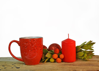 red coffee cup and candle arbutus xmas balls for background