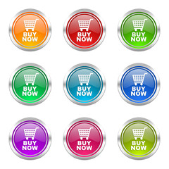 buy now colorful vector icons set