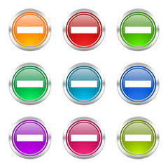 minus colorful vector icons set